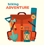 Hiking adventure. Red camping backpack.