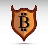 Shield with bit coin symbol