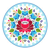 Russian folk art pattern - round floral design