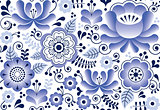 Gzhel seamless pattern, Russian folk art design, retro ceramics style