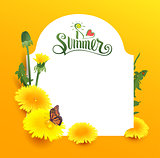 I love summer lettering text. Yellow flower dandelion and butterfly