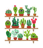 Big set of cute cartoon cactus and succulents with funny faces. Cute stickers or patches or pins collection. plants are friends set.Funny and cute cartoon desert cactus in pots vector set