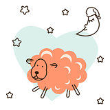 Cute baby lamb cartoon t shirt illustration vector.