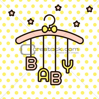 Baby word hanging on rack vector.