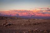Valle de la Luna at sunset in San Pedro de Atacama, Chile