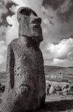 Moai statue, ahu Tongariki, easter island. Black and white pictu