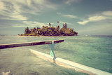 Pirogue on the way to paradise tropical atoll in Moorea Island l