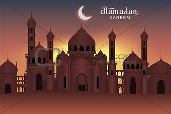 Arab night holy city mosque. Ramadan Kareem greeting card