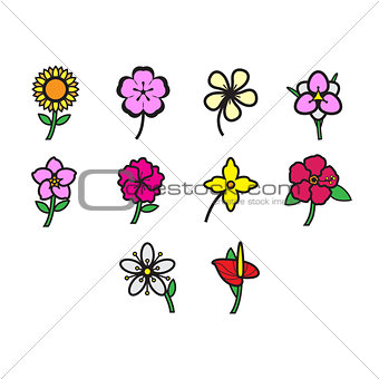 Flat color flowers icon set