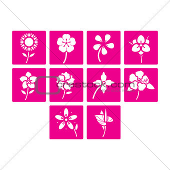 Flat color flowers icon set