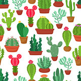 Colorful seamless pattern of funny cactus and succulent. Houseplant and wild cactus background.