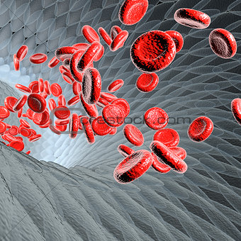 Blood vessel with flowing blood cells, scientific or medical or microbiological concept, 3d rendering illustration