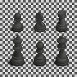 Chess figures isometric, vector illustration.