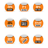 Set of yellow paper stickers of discount and sale, vector illustration.