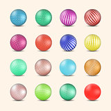 Set of glossy colored balls with halftone fill, vector illustration.
