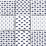 Set of nautical seamless backgrounds, vector illustration.