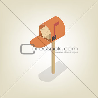 American mailbox isometric, vector illustration.