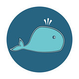Cute cartoon whale icon