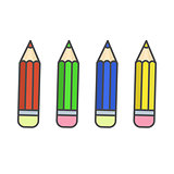 Flat color pencil icons