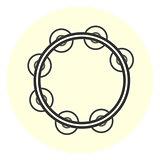 Flat tambourine icon