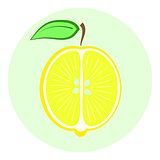 Half yellow lemon icon, lemon split in a half