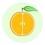 Half orange icon, orange split in a half