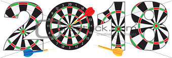 2018 Numerals with Dartboards and Darts Illustration