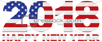 2018 Numerals with USA American Flag Illustration