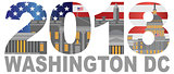 2018 Washington DC USA Flag Outline Illustration