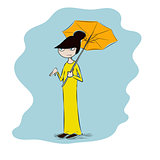 Vector colorful illustration of a japanese geisha, funny girl in maxi dress with umbrella