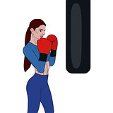 Beautiful woman boxing with black punching bag in vector