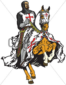 knight of Templar order on a horse