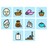Flat color spa icon set