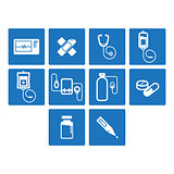 Thin line medical icon set