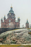 Uspenski cathedral on rock in Finnish capital Helsinki