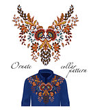 Vector embroidery ethnic flowers neck pattern. Orange flower design graphics fashion wearing