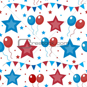 American USA flag seamless patterns. Independence Day, July 4 concept, repeating texture, endless background. Vector illustration.