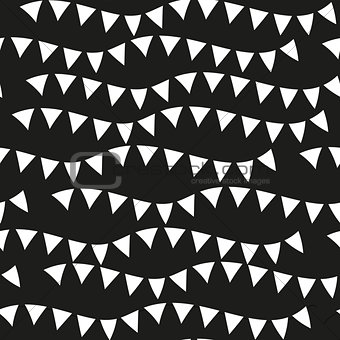 Black monochrome seamless patterns. Geometric repeating texture, endless background. Vector illustration.