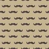 Mustache seamless patterns. Father s Day holiday concept repeating texture, endless background. Vector illustration.
