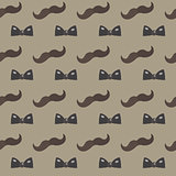 Mustache, Bow tie seamless patterns. Father s Day holiday concept repeating texture, endless background. Vector illustration.