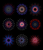 Fireworks, salute in traditional colors USA set of elements for your design. America s Independence Day, July 4, concept. Vector illustration.