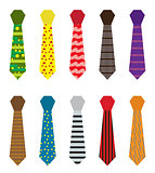 Set of multicolored ties with different patterns. Father s day or men s fashion concept isolated on white background. Vector illustration.