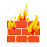 Firewall icon flat Wall in fire icon vector illustration