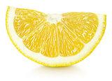 wedge of yellow lemon citrus fruit isolated on white