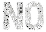 Word no for coloring. Vector decorative zentangle object