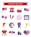 Set of patriotic icons Independence Day of America. July 4th collection of design elements, isolated on white background. Vector illustration, clip-art.