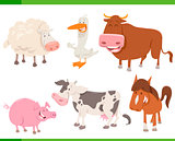 farm animal cartoon characters set