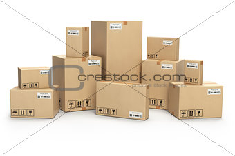 Cardboard boxes isolated on white. Delivery, cargo, logistic and
