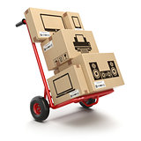 Sale and delivery of computer technics concept. Hand truck and c