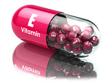 Vitamin E capsule or pill. Dietary supplements.